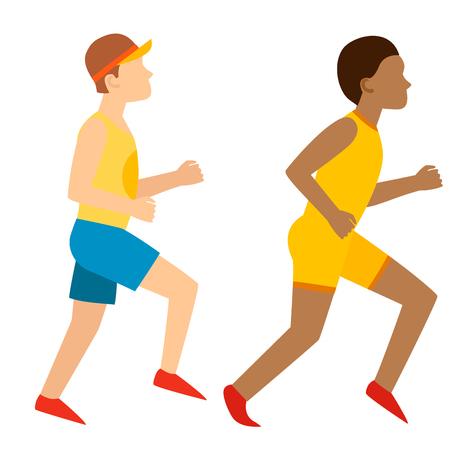 アスレチックラン男ジョギング夏のスポーツを楽しむランナーが健康的なライフスタイルベクトルイラストを行使
