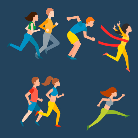 夏のジョギング運動実行人スポーツ楽しんでランナーの健康的なライフ スタイルのベクトル図を行使