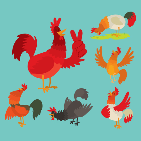 Cute cartoon rooster vector illustration chicken farm animal agriculture domestic bird character. Imagens - 90304311