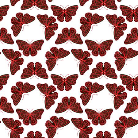 Kleurrijke vlinders met abstracte decoratieve naadloze patroon achtergrondvlieg huidig ??silhouet en van de de lenteinsect van de schoonheidaard de decoratie vectorillustratie. Stockfoto