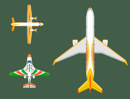 Top view of an airplane in flat illustration