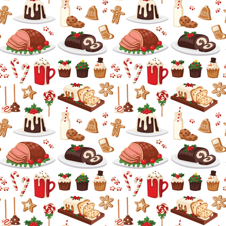 Christmas food and desserts in seamless pattern. Traditional festive winter cake homemade dish Illustration