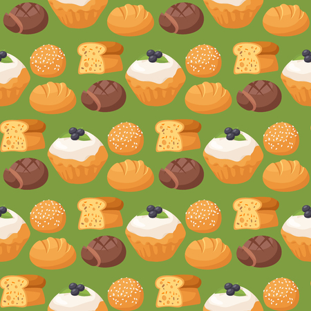 Homemade pastry biscuit sweet dessert in seamless pattern. Cookie cakes tasty snack. Delicious chocolate.  vector illustration Ilustração