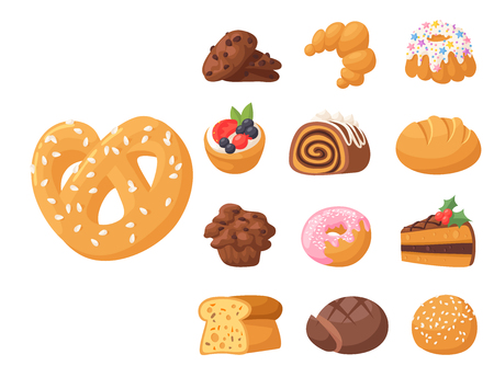 Homemade pastry biscuit sweet dessert in seamless pattern. Cookie cakes tasty snack. Delicious chocolate.  vector illustration Illustration