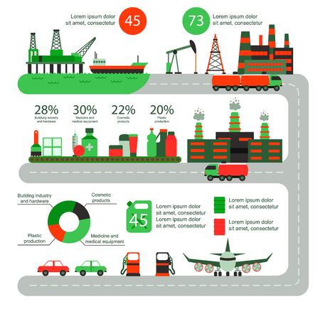 Productie van olie-industrie. Van de de wereldproductie van de gas de infographic wereld van de de aardoliewinning vectorillustratie.