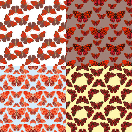 Colorful butterflies with abstract decorative seamless pattern background. Illustration