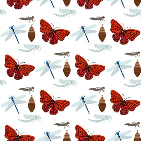 Kleurrijke vlinders en libellen met abstracte decoratieve naadloze patroonachtergrond