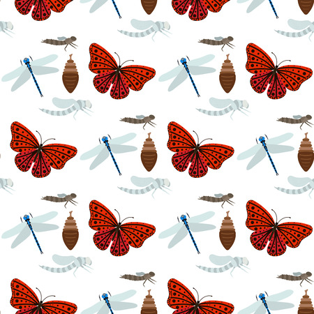 Colorful butterflies and dragonflies with abstract decorative seamless pattern background