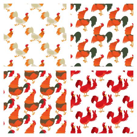 원활한 패턴 배경에서 귀여운 만화 수탉 벡터 일러스트 레이션