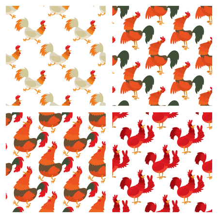 Cute cartoon rooster vector illustration in seamless pattern background