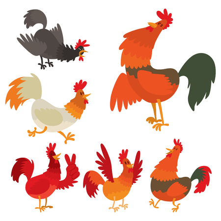 Cute cartoon rooster vector illustration in isolated background.