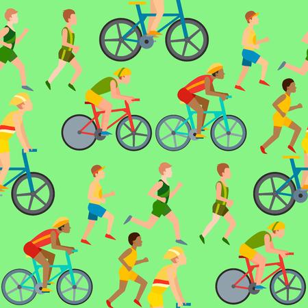シームレスなパターンでジョギングやサイクリングをするアスレチックの人々。健康的なライフスタイルベクトルイラスト