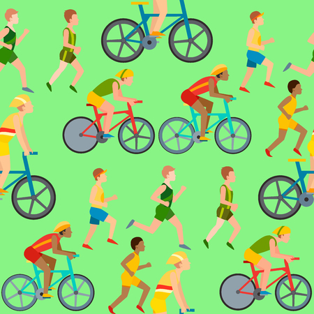 Athletic people jogging and cycling in seamless pattern. Healthy lifestyle vector illustration 向量圖像