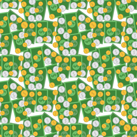 Coin and dollar bills in seamless pattern