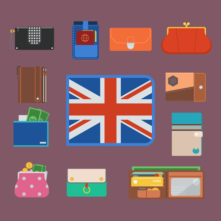 Purse wallet with money. Business financial payment bag and accessory trendy cash wealth vector illustration.