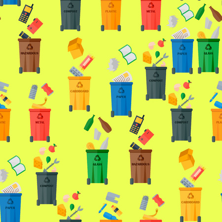 Garbage bins with junks seamless pattern background. Recycling waste, sorting processing treatment concept. Stock Illustratie
