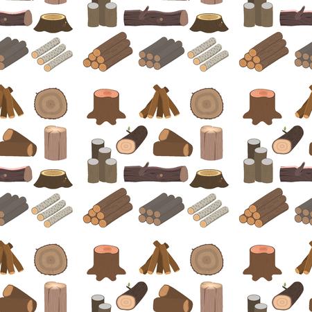 建築建設のための積み重ねられた木材松の木材。切り株木材樹皮シームレスパターン背景ベクトルイラストをカット。