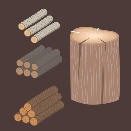 Stacked wood pine timber for building construction. Cut stump lumber tree bark materials vector illustration. Illustration