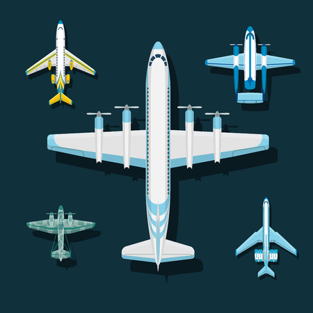 Vector airplane illustration top view and aircraft transportation travel way design journey speed aviation. Ilustrace