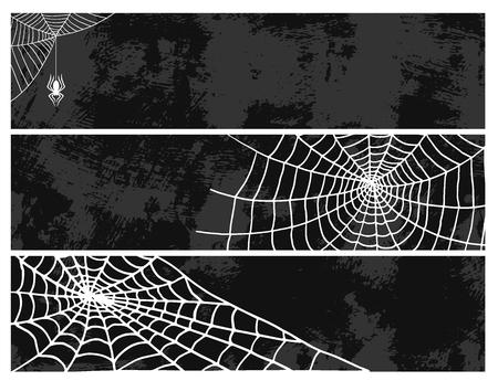 クモカードクモの巣シルエット不気味な自然ハロウィーン要素ベクトルクモの巣飾り恐怖不気味なネット。  イラスト・ベクター素材