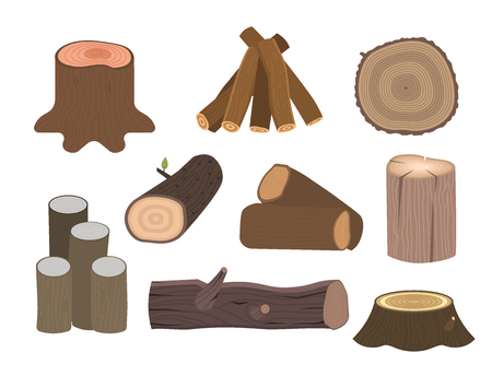 Stacked wood pine timber for construction building cut stump lumber tree bark materials vector illustration. 일러스트
