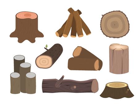 Stacked wood pine timber for construction building cut stump lumber tree bark materials vector illustration. Illustration