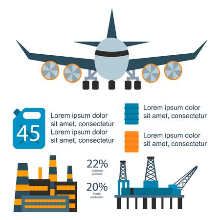 Oil gas industry manufacturing gas infographic world production distribution petroleum extraction vector illustration Ilustração