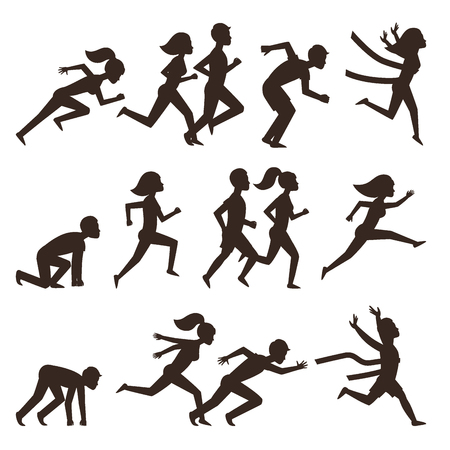 Athletic run man people silhouette jogging summer sport enjoying runner exercising their healthy lifestyle vector illustration