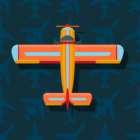 Vector airplane illustration top view and aircraft transportation travel way design journey speed aviation. Ilustração