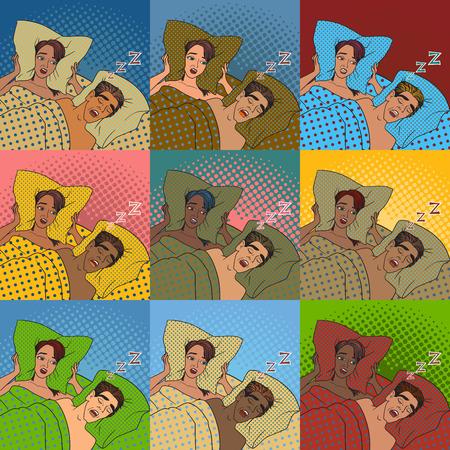 自宅の睡眠問題ベクトルでベッドでいびきをかく男性ながら耳を覆う女性。  イラスト・ベクター素材