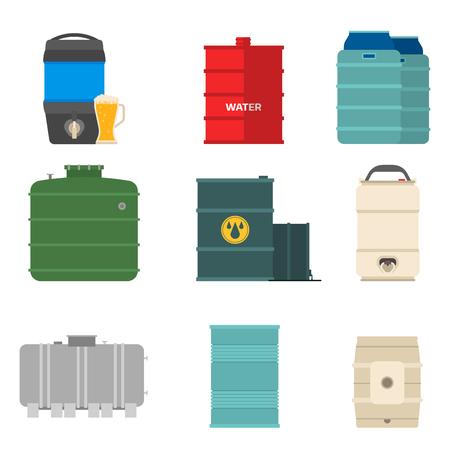 Oil drums container fuel cask storage rows steel barrels capacity tanks natural metal bowels chemical vessel vector illustration Illustration