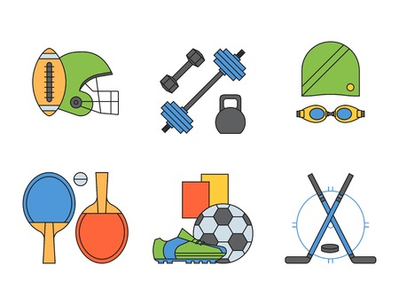 Set of sport icons in flat design line pictogram fitness symbol game trophy competition dumbbell activity vector illustration.