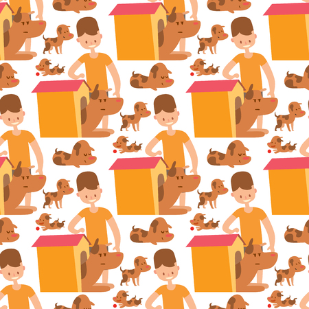 Vector illustration cute dogs and people characters seamless pattern purebred puppy comic smile happy mammal breed