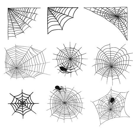 クモやクモ web シルエット不気味な自然要素ベクトル クモの巣ハロウィン不気味なネットを恐怖します。