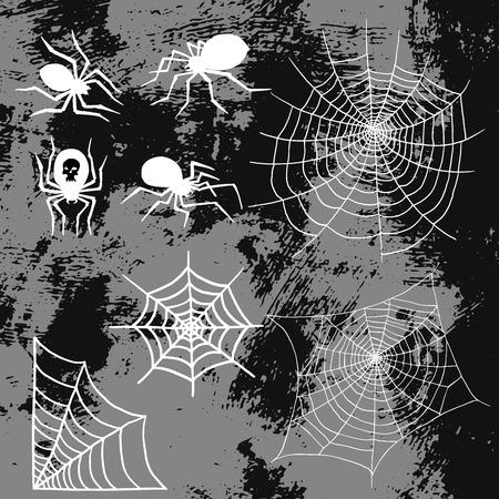 クモやクモの巣のシルエット不気味な自然ハロウィーン要素ベクトルクモの巣の装飾恐怖不気味なネット。  イラスト・ベクター素材
