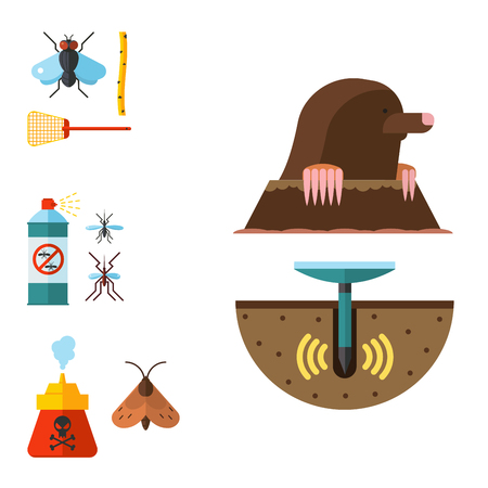 Home pest insect vector control expert vermin exterminator service pest insect thrips equipment flat icons illustration. Standard-Bild - 90743891