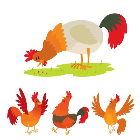 Cute cartoon rooster vector illustration chicken farm animal agriculture domestic bird rooster farm character. Иллюстрация