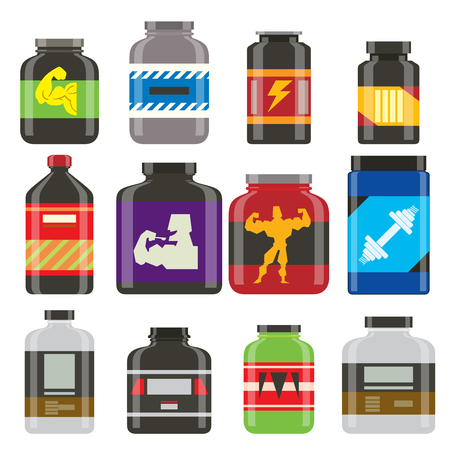 Sport nutrition healthy food vector fitness diet bodybuilding proteine power sport food and drink athletic supplement energy illustration.
