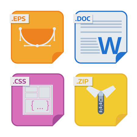 File types and formats labels icon presentation document symbol application software folder vector illustration. Illusztráció