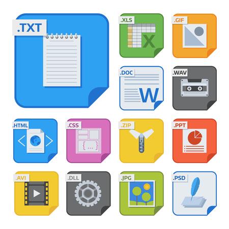 Types de fichiers et formats étiquettes icône présentation document symbole application logiciel dossier vector illustration. Banque d'images - 90743930