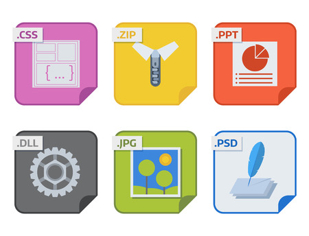 File types and formats labels icon presentation document symbol application software folder vector illustration. Vectores