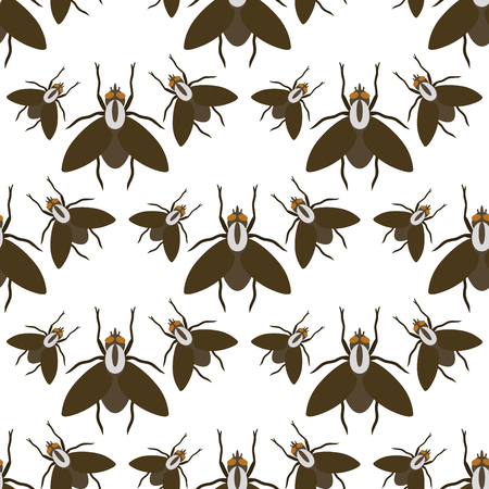 Fly insects wildlife entomology bug animal nature beetle biology buzz icon vector illustration pattern seamless background Zdjęcie Seryjne - 90743938
