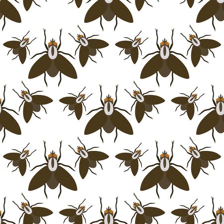 Mosca insectos fauna entomología insecto animal naturaleza escarabajo biología buzz icono vector ilustración patrón seamless fondo Foto de archivo - 90743938