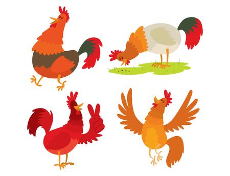 かわいい漫画の鶏のベクトルイラスト鶏農場農園国内鳥のキャラクター。