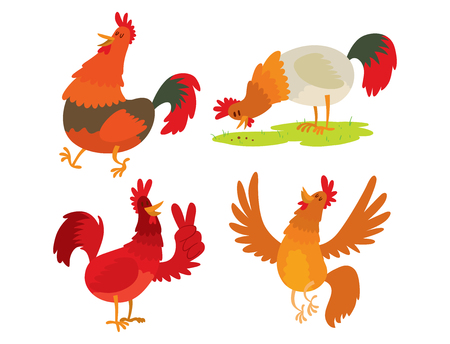 Cute cartoon rooster vector illustration chicken farm animal agriculture domestic bird character. Ilustrace
