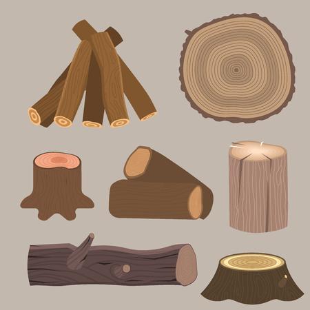 建築断木材木樹皮素材ベクター画像の木製パイン材を積み上げ。  イラスト・ベクター素材