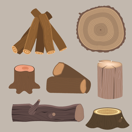 Stacked wood pine timber for construction building cut stump lumber tree bark materials vector illustration. Illustration