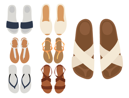 Slippers vector beach summer multicolored female slippers isolated on white casual summer footwear pair design Illustration