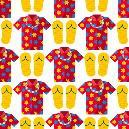 b0befe04d Hawaii t-shirt summer vector clothe and beach slippers hawaii style boots  illustration seamless pattern