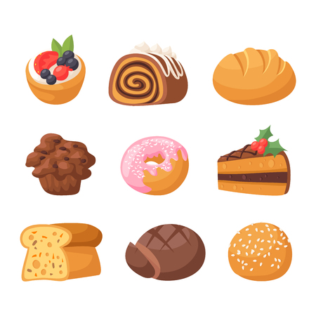 Cookie cakes tasty snack delicious chocolate homemade pastry biscuit sweet dessert bakery food vector illustration Illustration